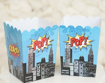 10 Mini Superhero Theme Birthday Party Popcorn Favor Boxes-Red, Yellow and Blue