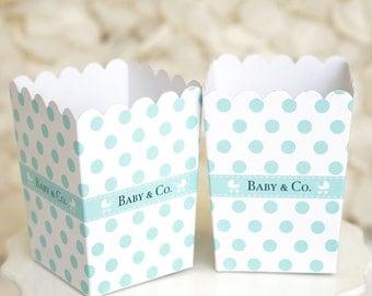 """10 Mini """"Baby & Co"""" Polka Dot Popcorn Favor Box-Robin Egg Blue Popcorn Box"""