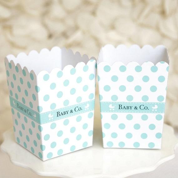 Blue Popcorn Favor Boxes : Mini baby co polka dot popcorn favor