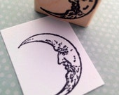 Small Moon Wood Mounted Rubber Stamp 4768