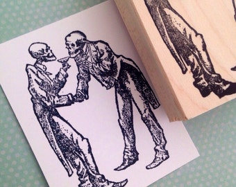 Toasting Skeletons  Wood Mounted Rubber Stamp  4752 V