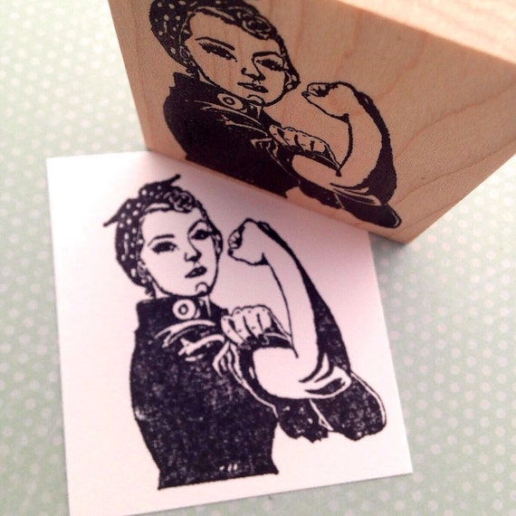 Rosie the Riveter Wood Mounted Rubber Stamp 4826