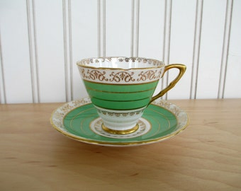 Royal Stafford Green & Gold Teacup and Saucer Set