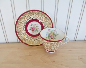 Vintage Royal Grafton China Teacup and Saucer Set White with Maroon and Gold