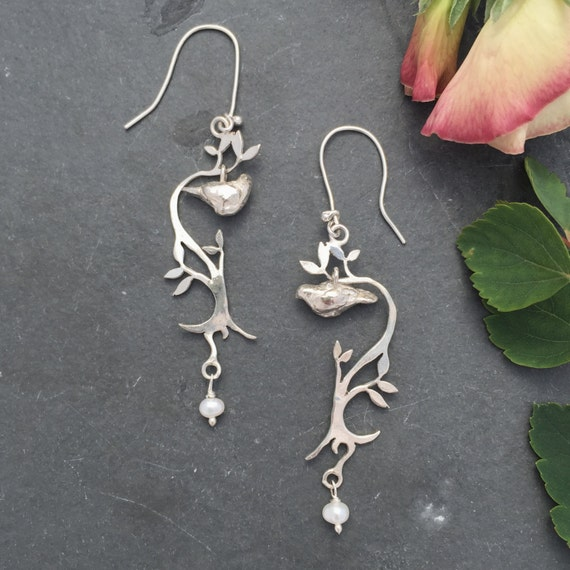 Bird, dove Earrings with Pearls, sterling silver