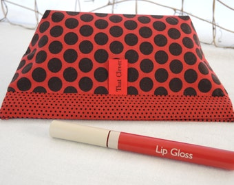 Makeup Bag, Purse Accessory, Notions Pouch: Red & Black Dots Cosmetic Pouch