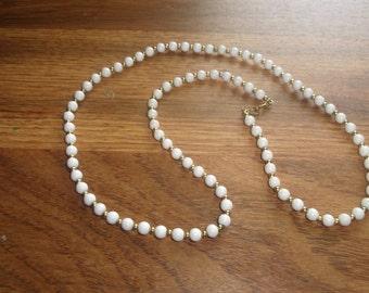 vintage necklace white gold lucite monet