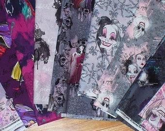 Disney Villains Fabric, Female Villains, 9 FQ,  9 Different Villains, Cruella Deville, Maleficent, Queen Stepmother, Gothel, Ursula