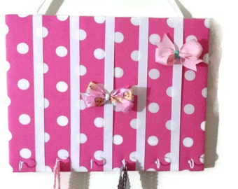 Hair Bow Holder Medium Pink / White Polka Dot Padded Hair Bow Organizer with Hooks for Headbands