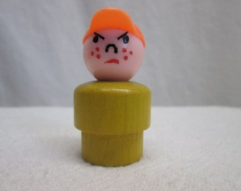 Fisher Price Little People, Little Boy, Baseball Cap, wooden toys, 1970s collectibles parts