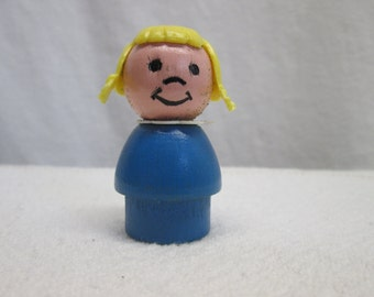 Fisher Price Little People, Pigtails, Blond Hair,  wooden toys, 1970s collectibles parts