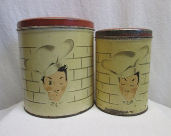 Kitchen Canisters, Parmeco Tin, Chef Motif, kitchen collectibles