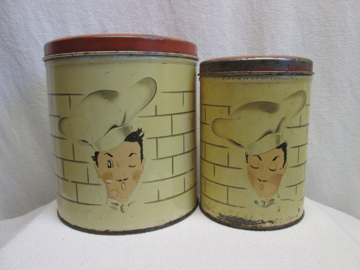 kitchen canisters parmeco tin chef motif kitchen