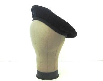 40s Black Beret Military Style Beret Black Hat 1940s Black Tam Black Wool Beret Black Beret Size 7 1/8 Wool Tam DKM Dorthea Knitting Mills