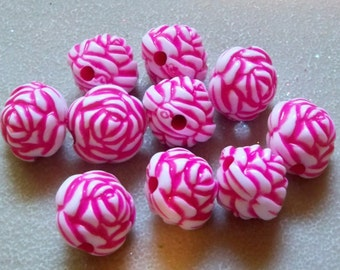Flower Beads-Rose & White-14mm
