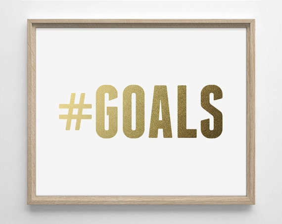 Items similar to hashtag goals faux gold foil art print for Bathroom decor hashtags