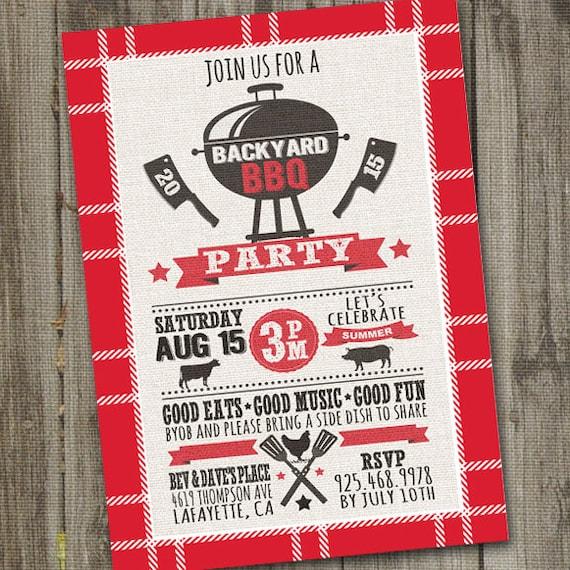 Printable Summer BBQ Invitation, Backyard BBQ Invitation, PRINTABLE Barbeque Invitation, Summer Invitation, Summer Invite