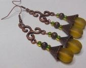Lemon on Copper, chandelier earrings  E516
