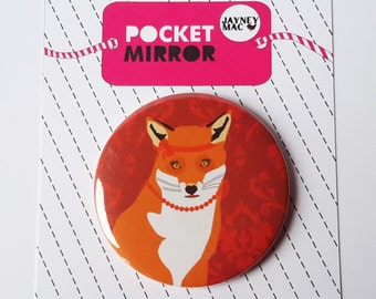 Fox Pocket Mirror- Lady,girl,vixen fox mirror