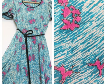 Vintage 40s 50s Silk Dress Turquoise and Pink with Bright Novelty Print Short Sleeved Mid-Length Womens Size X-Small Small