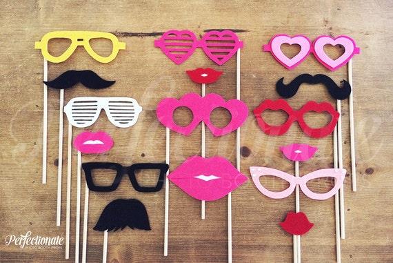 16 Stiff Felt Photo-Booth Props | Lip Props | Prop Glasses | Mustache Props