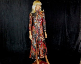 60s S 7 Psychedelic Metallic Dress Gown The Corporation Black Orange Paisley