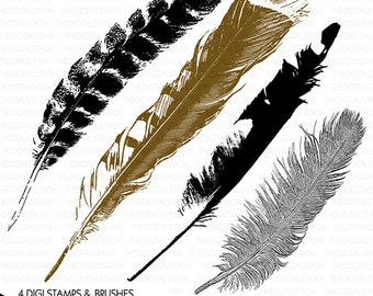 Bird Feathers - Digital Stamp and Brush Package - INSTANT DOWNLOAD - for Invites, Collage, Journaling, Scrapbooking, Cards, Crafts and More