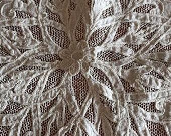 Beautiful Antique Vintage Tambour Net Lace Linen and Applique Square Tablecloth