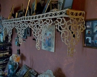 TREASURY ITEM Antique Vintage Fireplace Mantel/Trim Handmade Lace