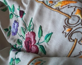 Antique Vintage Pure Linen Heavily Hand Embroidered Tablecloth