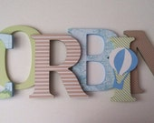 """Hot air balloon themed nursery wooden wall letters child's name 8 """" wall letters initial monogram"""