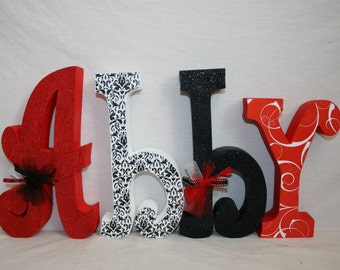 Teen girl room decor, Wood letters for teen, 15.00 per letter, Teen name sign, Wood letters, Wood name sign, Black and red decor, Damask
