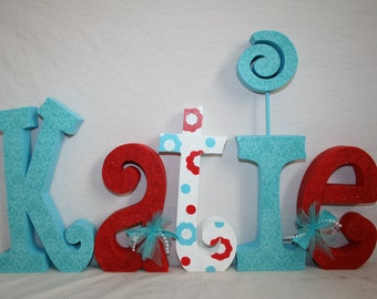 Wood letters, Girls room decor, 5 letter set, Turquoise and red, Nursery letters for girl, Wooden letters, Hanging letters, Name sign