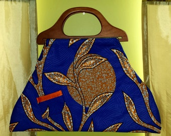 Big Blue Bag with Wood handles
