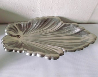 Vintage English Silver Metal Leaf Serving Bowl Art Nouveau Dish Circa 1900s