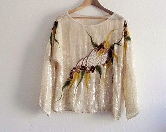 Vintage Beaded Embellished Sequin Top