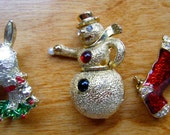 Vintage Christmas Brooches// Holiday Jewelry// Snowman//Enameled Stocking //Reindeer