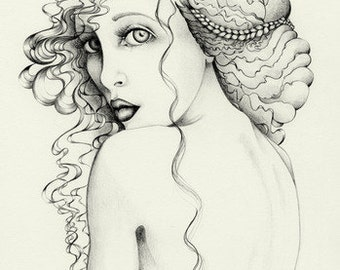 "Fine Art Giclee Print of my original pencil drawing Evocative Portrait Women Drawing Nude Drawing Art Print ""Look Away"""