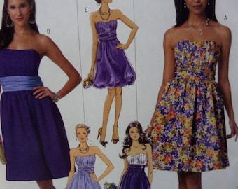 "2010 Contrast Midriff Dress w/ Boned Bodice Pattern Butterick 5457 Miss 14-20 Bust 36-42"". Flirty BUBBLE DRESS PATTERN at WhiletheCatNaps"