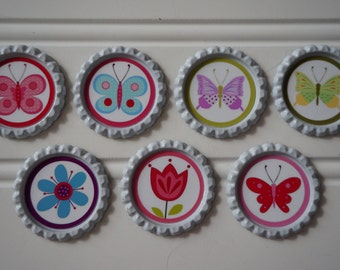 butterfly magnets, flower magnets, bottle cap magnets, bottle caps, magnets, girly magnets