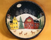 Christmas Folk Art Hand Painted Vintage Primitive Wood Bowl- MADE TO ORDER - Winter Night, Red Barn, Saltbox House, Deer, Snowy Woods