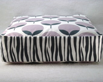 Floor Pillow Floor Seating Kids Floor Pillow Boxed Cushion Reversible Pillow Zebra and Flower Cushion Cover Only 18x18x5