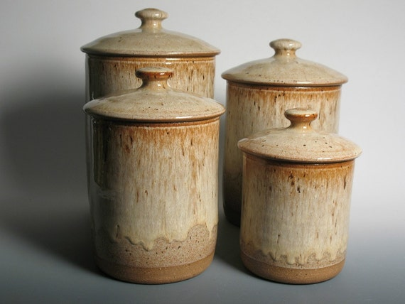 pottery canister set kitchen canisters