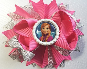"""Frozen Anna silver pink Inspired Hair Bow Grossgrain Loopy Boutique Handmade girls 4 1/2 """" 24M 2T 3 t 4 t 5 6 7 8 10 12"""
