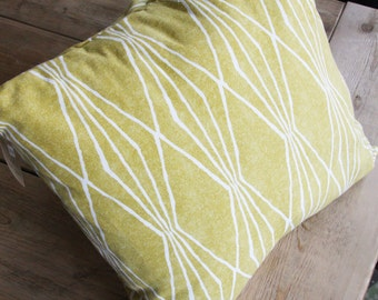 Pillow Cover and Pillow - Mustard/ Green - 16x16 - made and ready to ship