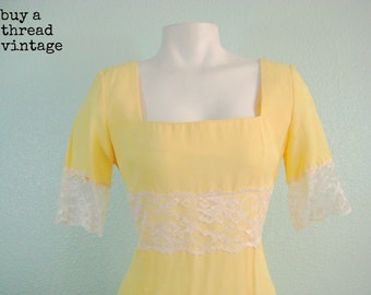 Vintage Butter Yellow Mod Dress with Lace Trim