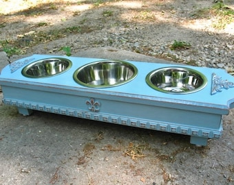 3 Bowl Elevated Feeder, Handmade,  Ocean Breeze, Cottage Chic, Cat Dog Feeder, 1 One Quart and 2 One Pint Stainless Bowls, Made to Order