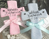 Twins Baptism Gift Crosses Set of 2 Personalized Salt Dough Ornaments / White, Pink or Baby Blue