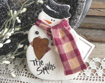 Personalized Snowman Salt Dough Ornament / Christmas Decor / Winter / Xmas Tree Ornaments