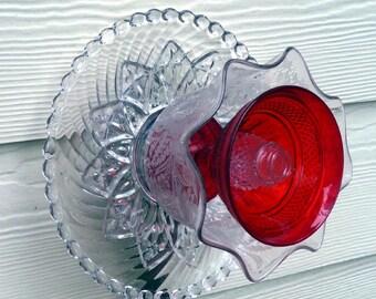 Glass garden art, glass garden flower, vintage glass, yard art, glass sculpture, plant stake, wall decor, fence decor, red suncatcher
